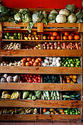 SHOT 2/8/18 11:15:30 AM - Various fruits and vegetables for sale in a small grocery store in San Sebastian del Oeste, Mexico. San Sebastián was founded as a mining town in 1605, during the early Spanish colonial Viceroyalty of New Spain period. Gold, silver and lead were mined in the area. More than 25 mines and a number of foundries were established by 1785. San Sebastián del Oeste is a designated Pueblos Mágicos, one of the towns maintaining their historical character and promoted by the federal government as tourism destinations. It also receives tourists visiting nearby Puerto Vallarta on the coast to the west. (Photo by Marc Piscotty / © 2018)