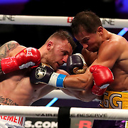 Gennady Golovkin of Khazakhstan (R) punches Kamil Szeremeta of Poland during the IBF middleweight world title fight at the Seminole Hard Rock Hotel and Casino in Hollywood, Florida USA on 18, Dec 2020. Photo: Alex Menendez