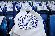 Leicester City bags on the away chairs inside Stamford Bridge before k/o. Barclays Premier league match, Chelsea v Leicester city at Stamford Bridge in London on Sunday 15th May 2016.<br /> pic by John Patrick Fletcher, Andrew Orchard sports photography.