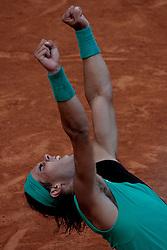 Rome, Italy 12/05/2007 - Tennis - Italian ATP Masters Series 2007 -  Rafael Nadal from Spain reacts at winning the  match against Filippo Volandri (ITA)