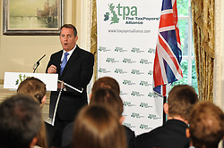 © Licensed to London News Pictures. 02/07/2012. London,Britain. Former Defence Secretary Liam Fox MP delivers his first speech on Europe since leaving the Cabinet on Britain, the Euro and the EU at St. Stephen's Club, London on July 2, 2012.  Photo credit : Thomas Campean/LNP..