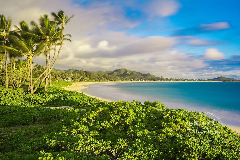Long exposure photograph of Kailua Beach, Oahu, Hawaii