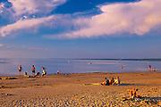People on the sandy beach along  Lake Winnipeg<br /> Grand Beach Provincial Park<br /> Manitoba<br /> Canada