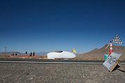 David Verbroekken in de Cygnus op de zesde racedag van de WHPSC. In de buurt van Battle Mountain, Nevada, strijden van 10 tot en met 15 september 2012 verschillende teams om het wereldrecord fietsen tijdens de World Human Powered Speed Challenge. Het huidige record is 133 km/h.<br /> <br /> David Verbroekken in the Cygnus on the sixth day of the WHPSC. Near Battle Mountain, Nevada, several teams are trying to set a new world record cycling at the World Human Powered Vehicle Speed Challenge from Sept. 10th till Sept. 15th. The current record is 133 km/h.