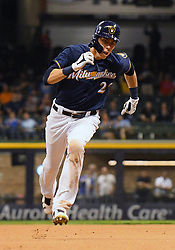 May 8, 2018 - Milwaukee, WI, U.S. - MILWAUKEE, WI - MAY 08: Milwaukee Brewers Outfield Christian Yelich (22) runs to 2nd during a MLB game between the Milwaukee Brewers and Cleveland Indians on May 8, 2018 at Miller Park in Milwaukee, WI. The Brewers defeated the Indians 3-2.(Photo by Nick Wosika/Icon Sportswire) (Credit Image: © Nick Wosika/Icon SMI via ZUMA Press)