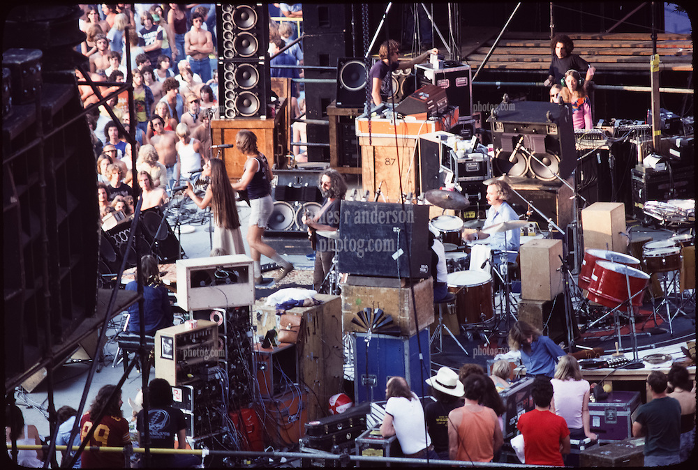 The Grateful Dead Live at Giants Stadium 2nd of September 1978. The Band on Stage performing. Side View.