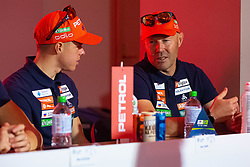 Uros Velepec and Alex Cisar during press conference of Slovenian Nordic Ski Cross country team before new season 2019/20, on Novamber 12, 2019, in Petrol, Ljubljana, Slovenia. Photo Grega Valancic / Sportida