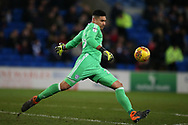 Neil Etheridge, the goalkeeper of Cardiff city in action. EFL Skybet championship match, Cardiff city v Bolton Wanderers at the Cardiff city Stadium in Cardiff, South Wales on Tuesday 13th February 2018.<br /> pic by Andrew Orchard, Andrew Orchard sports photography.