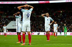 Jordan Henderson of England and teammates cut dejected figures - Mandatory by-line: Robbie Stephenson/JMP - 05/10/2017 - FOOTBALL - Wembley Stadium - London, United Kingdom - England v Slovenia - World Cup qualifier