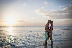 Portrait of young couple at beach, Mauritius