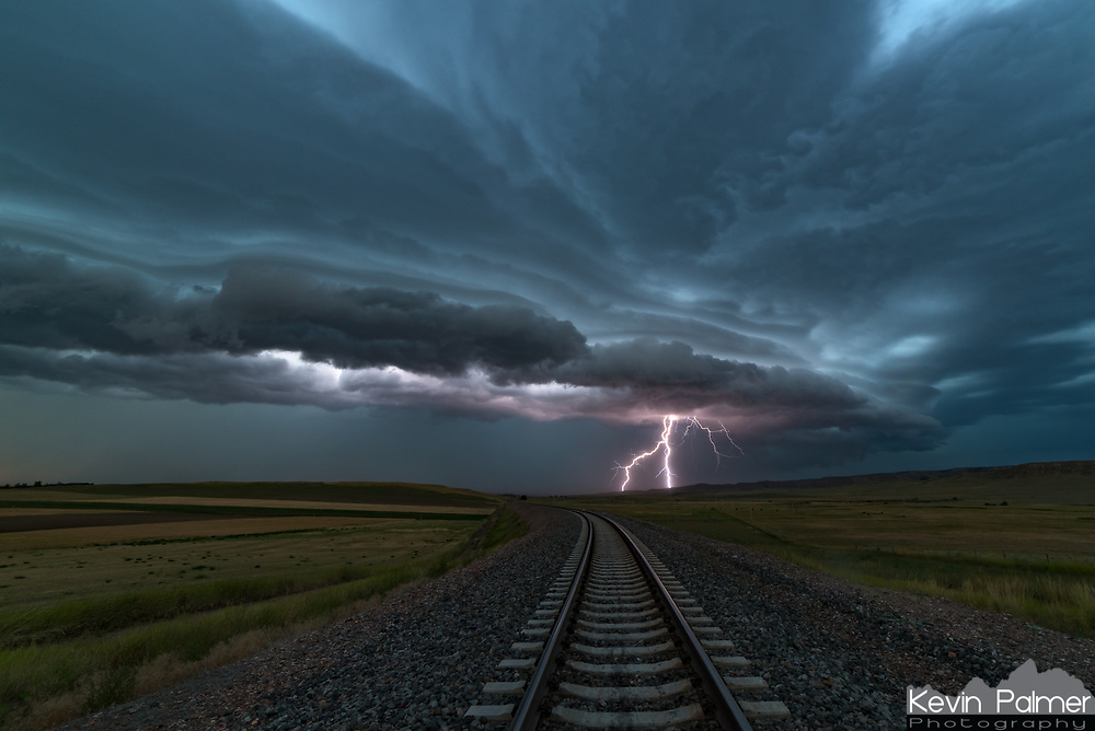This severe thunderstorm rolled into northern Wyoming from Montana after 8PM. This north-facing railroad track was the perfect place to shoot a time lapse of it approaching. The NWS warned of winds up to 70 mph as the gust front passed over.