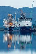 Two vessels owned by Island Offshore, alongside at Ulstein Yard   To av båtene til Island Offshore liggende ved kai på Ulstein Verft, Ulsteinvik.