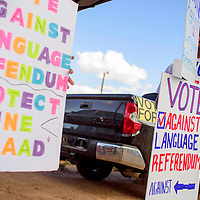 072115       Cable Hoover<br /> <br /> Roger James urges voters to vote against the Navajo language referendum outside the Fort Defiance Chapter House Tuesday.