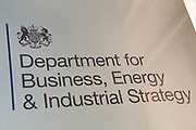 Department for Business, Energy and Industrial Strategy in London, England, United Kingdom. The department brings together responsibilities for business, industrial strategy, science, innovation, energy, and climate change.