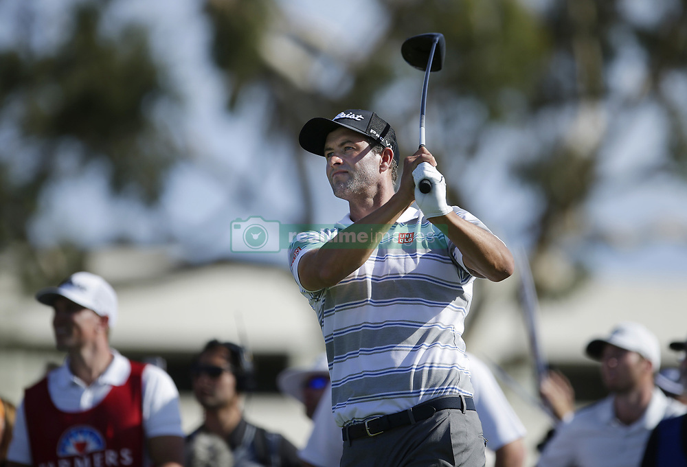 January 26, 2019 - San Diego, CA, USA - Adam Scott tees off on the 18th hole during the third round of the Farmers Insurance Open at the Torrey Pines Golf Course in San Diego on Saturday, Jan. 26, 2019. (Credit Image: © K.C. Alfred/San Diego Union-Tribune/TNS via ZUMA Wire)