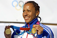 Foto: Colorsport/Digitalsport<br /> NORWAY ONLY<br /> <br /> Kelly Holmes (GBR) with her two Gold Medals. Olympic Parade of Medal winners in London. Trafalgar Square. 18/10/2004.