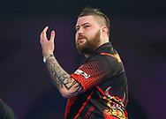 Michael Smith shows frustration during the 2019 William Hill World Darts Championship Final at Alexandra Palace, London, United Kingdom on 1 January 2019.