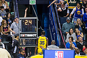 Golden State Warriors forward Kevin Durant (35) leaves the arena after being ejected during the first half of a NBA game against the Milwaukee Bucks at Oracle Arena in Oakland, Calif., on March 29, 2018. (Stan Olszewski/Special to S.F. Examiner)