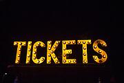 Tickets, sign made of lightbulbs