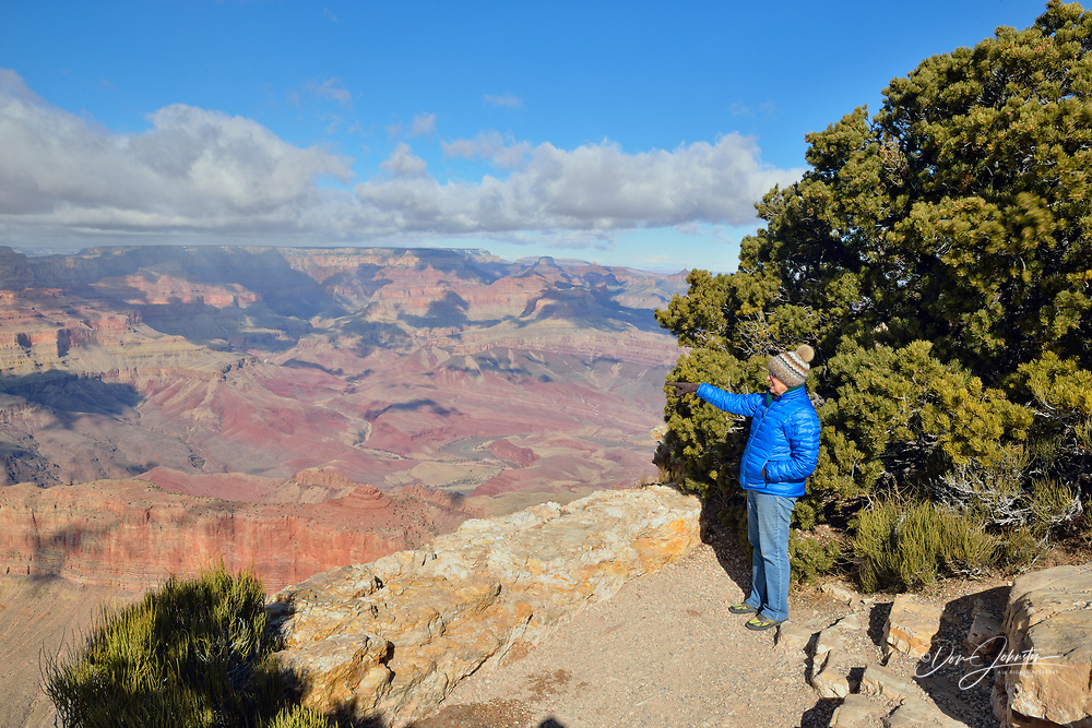 Tourist observing Grand Canyon from the South Rim in winter, from Lipan Point, Grand Canyon National Park, Arizona, USA