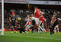 Football - 2019 / 2020 Premier League - Arsenal vs. Crystal Palace<br /> <br /> David Luiz hidden behind Sokratis of Arsenal scores goal no 2 , at The Emirates Stadium.<br /> <br /> COLORSPORT/ANDREW COWIE
