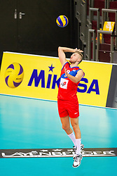 25.09.2015, MHP Aren, Ludwigsburg, GER, Volleyball Vier Nationen Turnier, Slowenien vs Serbien, im Bild Aufschlag Nikola Jovovic #9 (Serbien/Serbia) // during the match between Slovenia and Serbia of the Volleyball four Nations Tournament at the MHP Aren in Ludwigsburg, Germany on 2015/09/25. EXPA Pictures © 2015, PhotoCredit: EXPA/ Eibner-Pressefoto/ Wuechner<br /> <br /> *****ATTENTION - OUT of GER*****