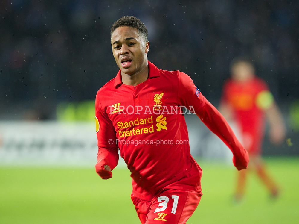 SAINT PETERSBURG, RUSSIA - Thursday, February 14, 2013: Liverpool's Raheem Sterling in action against FC Zenit St Petersburg during the UEFA Europa League Round of 32 1st Leg match at the Stadio Petrovski. (Pic by David Rawcliffe/Propaganda)