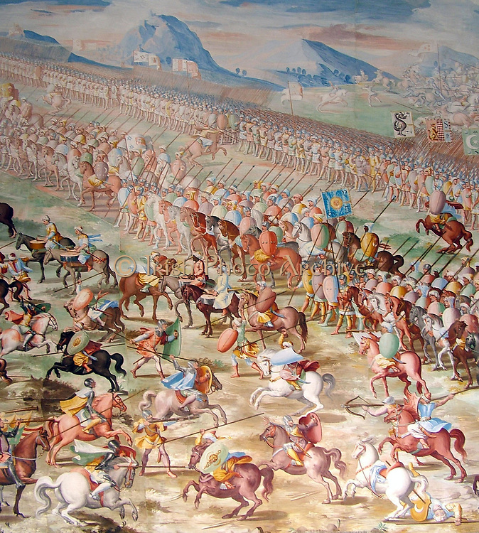 Forces of Muhammed IX, Nasrid Sultan of Granada, at the Battle of Higueruela 1431, as depicted in a series of fresco paintings by Fabrizio Castello, Orazio Cambiaso and Lazzaro Tavarone in the Gallery of Battles at the Royal Monastery of San Lorenzo de El Escorial, Spain.