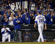 CHICAGO, IL - OCTOBER 28: Kyle Hendricks #28 of the Chicago Cubs receives a standing ovation after being removed from Game 3 of the 2016 World Series against the Cleveland Indians at Wrigley Field on Friday, October 28, 2016 in Chicago, Illinois. (Photo by Ron Vesely/MLB Photos via Getty Images)