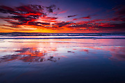 Sunset over the Channel Islands from Ventura State Beach, Ventura, California USA