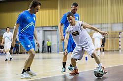 Miran Pavlin and Sebastjan Cimerotic vs Rene Mlekuz during football and basketball charity event All Legends by Olimpiki, on June 9, 2015 in Hala Tivoli, Ljubljana, Slovenia. Photo by Vid Ponikvar / Sportida