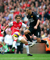 Photo: Tom Dulat/Sportsbeat Images.<br /> <br /> Arsenal v Manchester United. The FA Barclays Premiership. 03/11/2007.<br /> <br /> Mathieu Flamini of Arsenal and Rio Ferdinand of Manchester United with the ball.