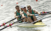 2006 FISA World Cup, Lucerne, SWITZERLAND, 08.07.2006. IRL LM4-   bow, Gearoid Towey, Eugene COAKLEY, Richard ARCHIBALD, Paul GRIFFEN  Photo  Peter Spurrier/Intersport Images email images@intersport-images.com....[Mandatory Credit Peter Spurrier/Intersport Images... Rowing Course, Lake Rottsee, Lucerne, SWITZERLAND.