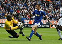 Photo: Steve Bond/Richard Lane Photography<br />Leicester City v MK Dons. Coca-Cola League One. 09/08/2008. Matty Fryatt (R) advances as keeper Willy Gueret saves