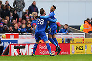 Riyad Mahrez of Leicester City (r) celebrates with his teammate after scoring his teams 2nd goal to make it 1-2. Premier league match, Stoke City v Leicester City at the Bet365 Stadium in Stoke on Trent, Staffs on Saturday 4th November 2017.<br /> pic by Chris Stading, Andrew Orchard sports photography.
