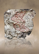 Geometric wall painting fragment found in 1999 in building 2, space 117, level IX. Unit no 4223X1. Catalhoyuk collection, Konya Archaeological Museum, Turkey .<br /> <br /> (updated 2021) Add photos of Catalhoyuk Antiquities using ADD TO CART button as royalty free download or prints or download from our ALAMY STOCK LIBRARY page at https://www.alamy.com/portfolio/paul-williams-funkystock - Scroll down and type -  Catalhoyuk  - into LOWER search box. (TIP - Refine search by adding a background colour as well).<br /> <br /> Visit our PREHISTORIC PLACES PHOTO COLLECTIONS for more  photos to download or buy as prints https://funkystock.photoshelter.com/gallery-collection/Prehistoric-Neolithic-Sites-Art-Artefacts-Pictures-Photos/C0000tfxw63zrUT4