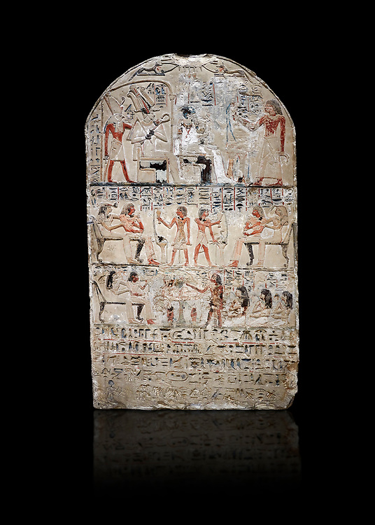 """Ancient Egyptian stele of s standard bearer Maienhekau, limestone, New Kingdom, 18th Dynasty, (1458-1425 BC), DAbydos,  Egyptian Museum, Turin. black background,<br /> <br /> In the top registerMaienhekau makes offerings to Ptah, Osiris and Horus. In the middle he is shown with his wife reveiving offerings from his 2 sons. In the lower register another son with 3 gaughters is offering a formula to Maienhekau, also listing his titles. He was standard bearer (captain) on several warships and the """"bearer of arms """" of Thutmosis II. The current depictions are over an earlier relief which can be seen in places where the later stucco has come away. .<br /> <br /> If you prefer to buy from our ALAMY PHOTO LIBRARY  Collection visit : https://www.alamy.com/portfolio/paul-williams-funkystock/ancient-egyptian-art-artefacts.html  . Type -   Turin   - into the LOWER SEARCH WITHIN GALLERY box. Refine search by adding background colour, subject etc<br /> <br /> Visit our ANCIENT WORLD PHOTO COLLECTIONS for more photos to download or buy as wall art prints https://funkystock.photoshelter.com/gallery-collection/Ancient-World-Art-Antiquities-Historic-Sites-Pictures-Images-of/C00006u26yqSkDOM"""