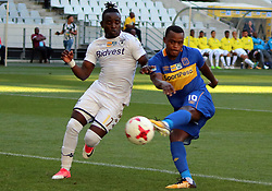 Gabadinho Frank Mhango and Ayanda Patosi in the MTN8 semi-final first leg match between Cape Town City and Bidvest Wits at the Cape Town Stadium on Sunday 27 August 2017.