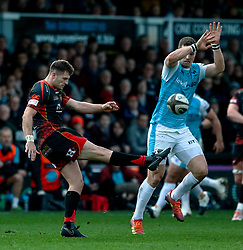 Josh Lewis of Dragons under pressure from George North of Ospreys<br /> <br /> Photographer Simon King/Replay Images<br /> <br /> Guinness PRO14 Round 12 - Dragons v Ospreys - Sunday 30th December 2018 - Rodney Parade - Newport<br /> <br /> World Copyright © Replay Images . All rights reserved. info@replayimages.co.uk - http://replayimages.co.uk