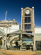 View of Wachner Place, it's clock and Dee Street spires, Invercargill, New Zealand