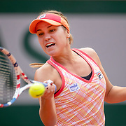 PARIS, FRANCE October 03. Sofia Kenin of the United States in action against Irina Bara of Romania in the third round of the singles competition on Court Philippe-Chatrier during the French Open Tennis Tournament at Roland Garros on October 3rd 2020 in Paris, France. (Photo by Tim Clayton/Corbis via Getty Images)