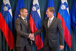 Aleksander Ceferin, newly elected president of UEFA and Miro Cerar, Prime Minister of Slovenia, at their meeting on October 7, 2016 in Ljubljana, Slovenia. Photo by Bor Slana / Sportida