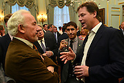 "© Licensed to London News Pictures. 11/09/2012. London, UK L-R Simon Callow, Nick Clegg. Nick Clegg makes a speech at a reception to celebrate the Government's Consultation on Gay Marriage. Today, 11 September 2012. In the speech he withdrew comments about opponents of gay marriage which in an early draft released to media he called them ""bigots"". Photo credit : Stephen Simpson/LNP"
