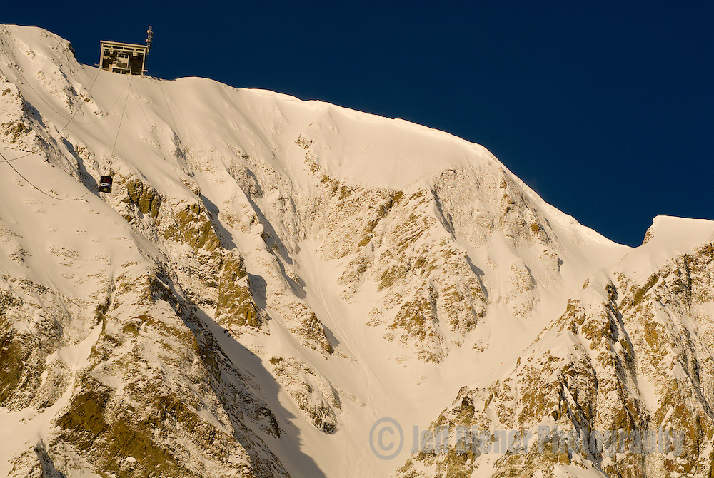 """The summit of Lone Mountain with tram station and """"Big Couloir"""".  Big Sky Resort, Big Sky, Montana."""