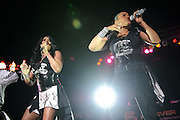 Salt 'n Pepa performing on the Legends of Hip Hop Tour at the Chaifetz Arena in St. Louis, Missouri on March 12, 2011.