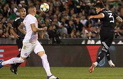 March 22, 2019 - Carlos Salcedo (3) of Mexico kicks the ball during Mexico's 3-1 victory over Chile. (Credit Image: © Rishi Deka/ZUMA Wire)