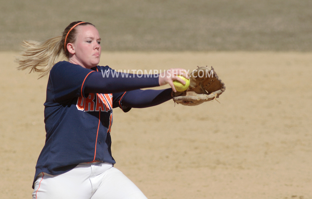 Middletown, NY - SUNY Orange pitcher Ashlee Renwick winds up during a women's softball game against Gloucester County College on March 30, 2008.