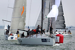 Brewin Dolphin Scottish Series 2014, the start of an International IRC competition racing on the Solent off Cowes and hosted by the RORC.<br /> <br /> FRA 35421 Goa, of France Blue<br /> <br /> Credit: Marc Turner