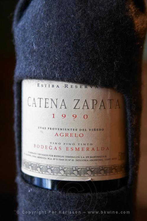 Bottle of Estiba Reserva Catena Zapata 1990 Agrelo Mendoza Bodegas Esmeralda. The O'Farrell Restaurant, Acassuso, Buenos Aires Argentina, South America