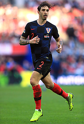 Croatia's Sime Vrsaljko during the UEFA Nations League, Group A4 match at Wembley Stadium, London. PRESS ASSOCIATION Photo. Picture date: Sunday November 18, 2018. See PA story SOCCER England. Photo credit should read: Mike Egerton/PA Wire. RESTRICTIONS: Use subject to FA restrictions. Editorial use only. Commercial use only with prior written consent of the FA. No editing except cropping.